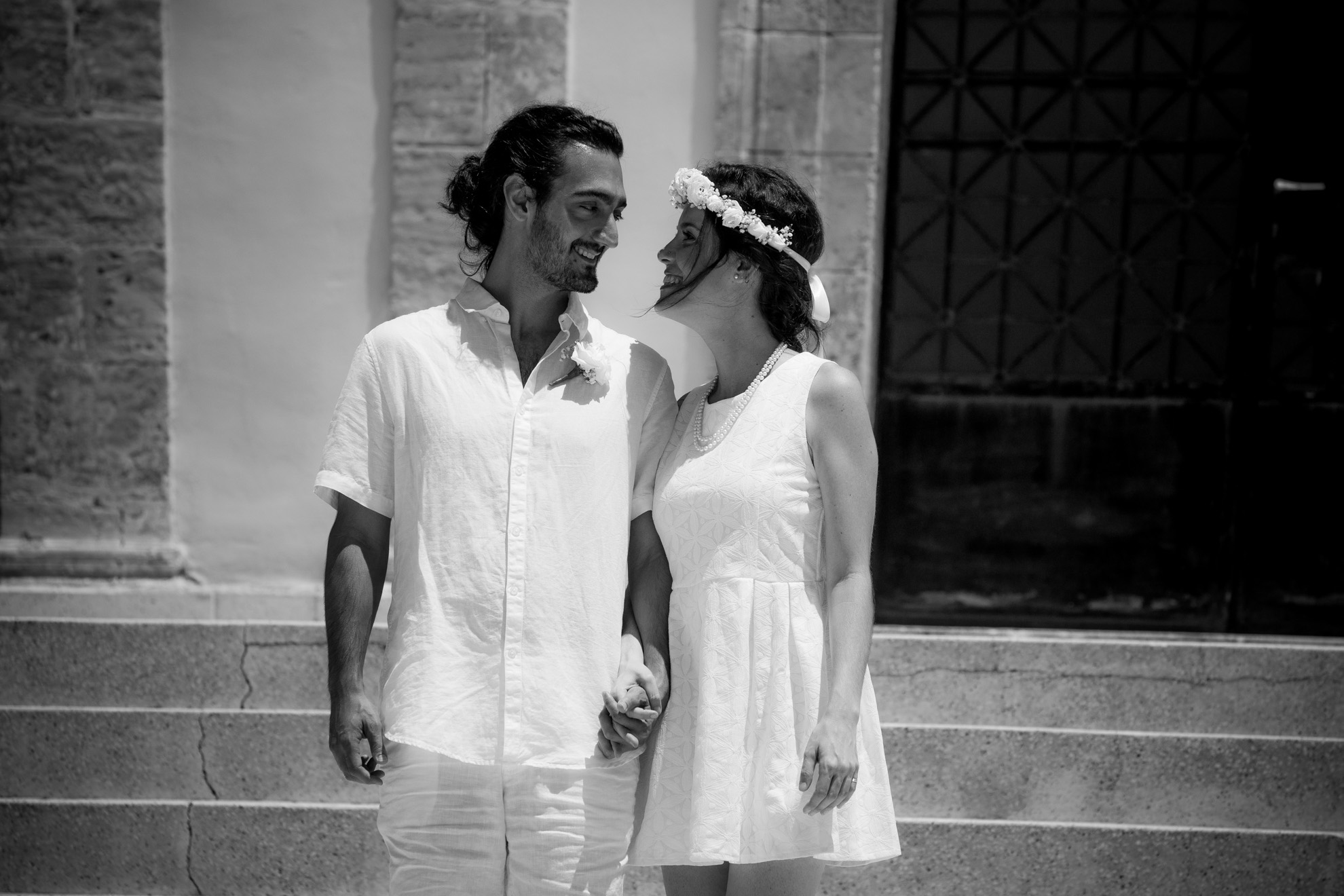 couple after their wedding in Pafos, photography by spyros christofi photographed in black and white